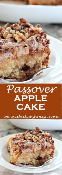 two photos of apple cake for passover