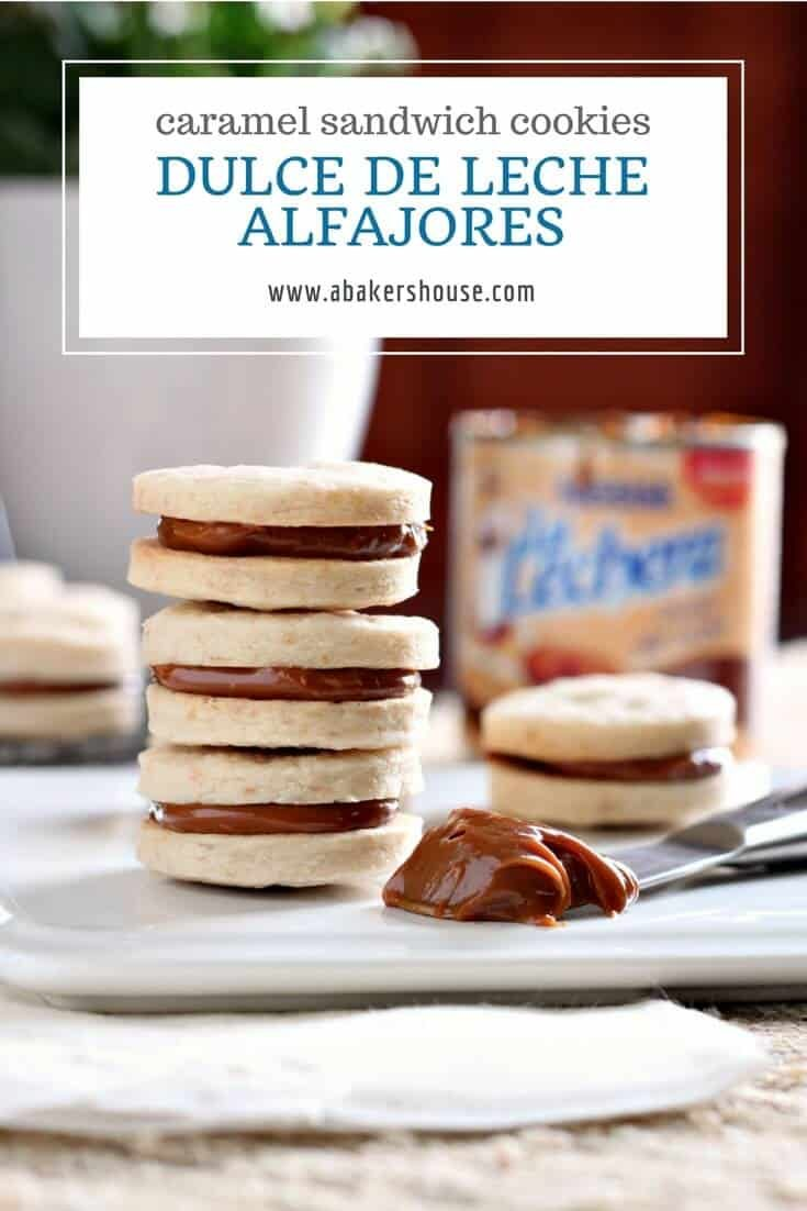 A recipe for dulce de leche alfajores cookies. Two cookies sandwiched with a filling of dulce de leche. A traditional South American dessert. #cincodemayo #caramel #dulcedeche #sandwichcookie #easycookierecipe #abakershouse