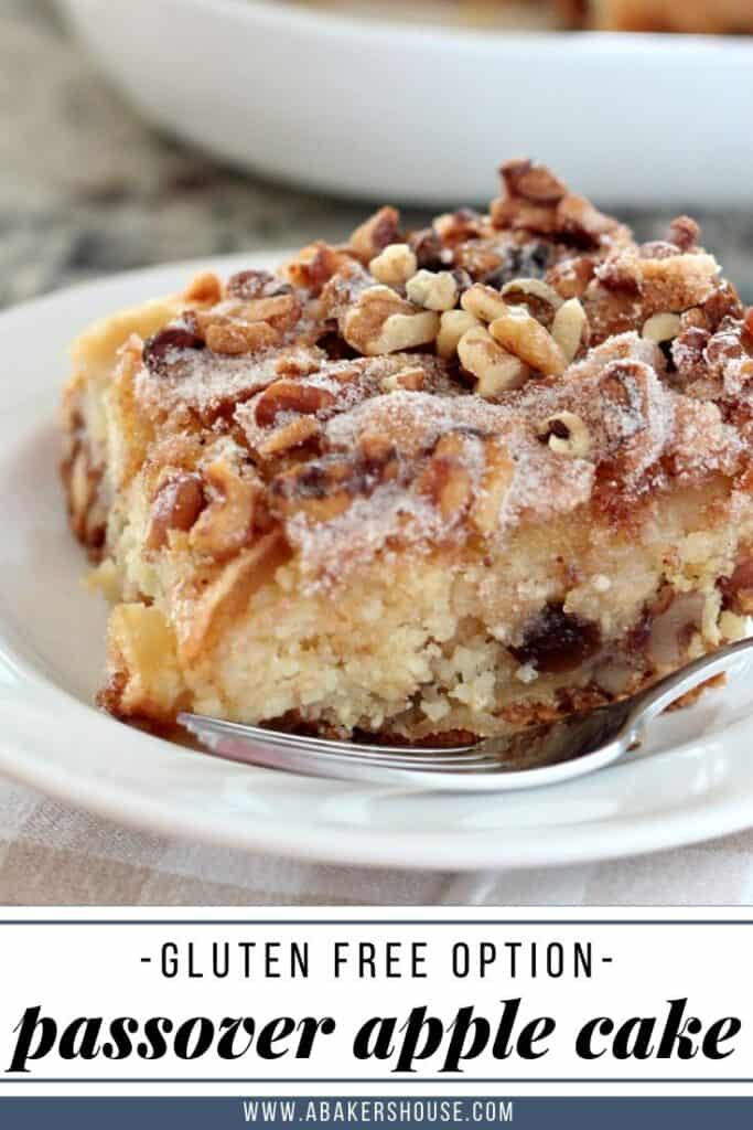 Pin for slice of apple cake for Passover