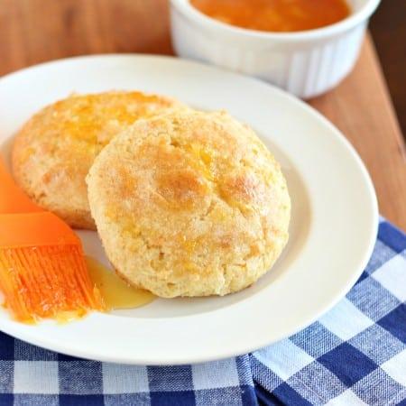 orange marmalade scones with blue checkered napkin