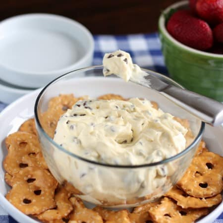 Chocolate Chip Cheesecake Cookie Dough Dip with #SafeEggs and #EatWriteRetreat