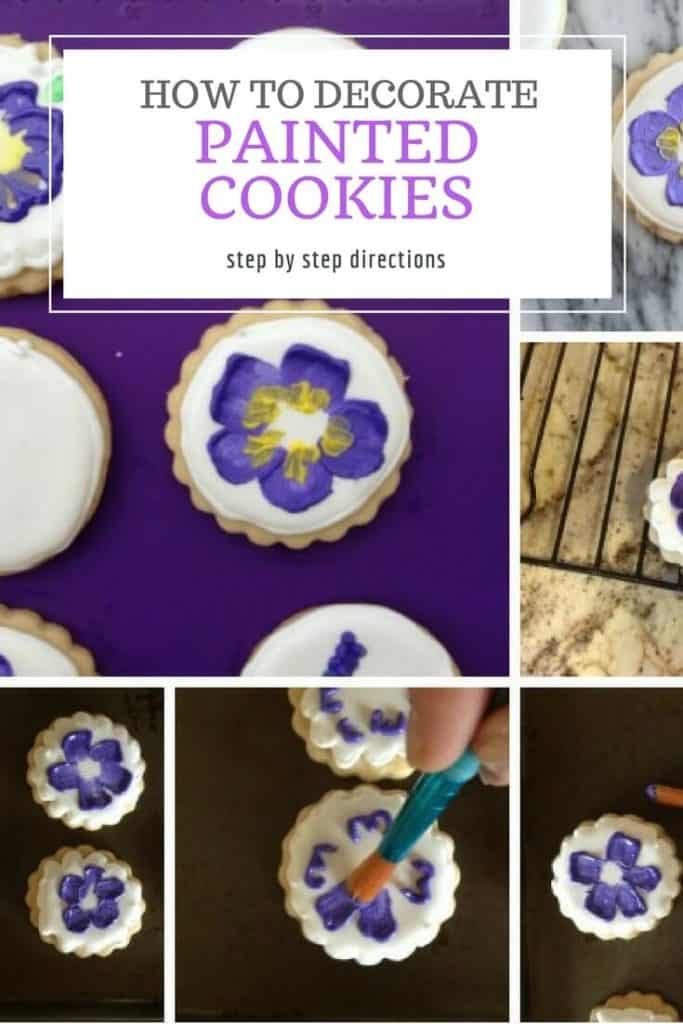 Step by step for painted cookies with flowers