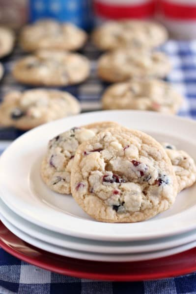 red white blue cookies with dried berries and white chocolate chips