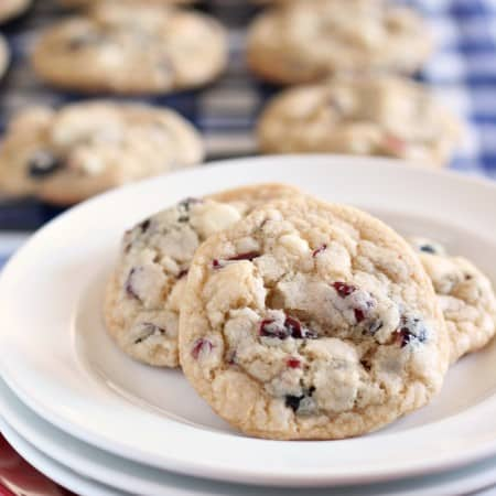 Red white and blue cookie with dried berries and white chocolate