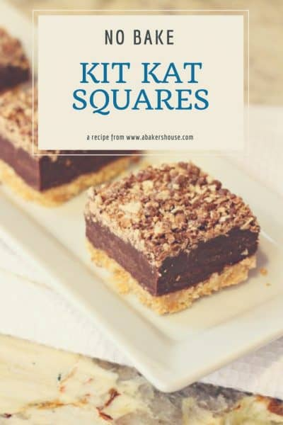 No Bake Kit Kat Squares with text overlay for Pinterest image