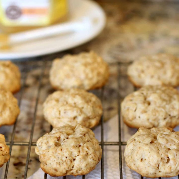 Healthy honey oatmeal cookies on a wire cooling rack
