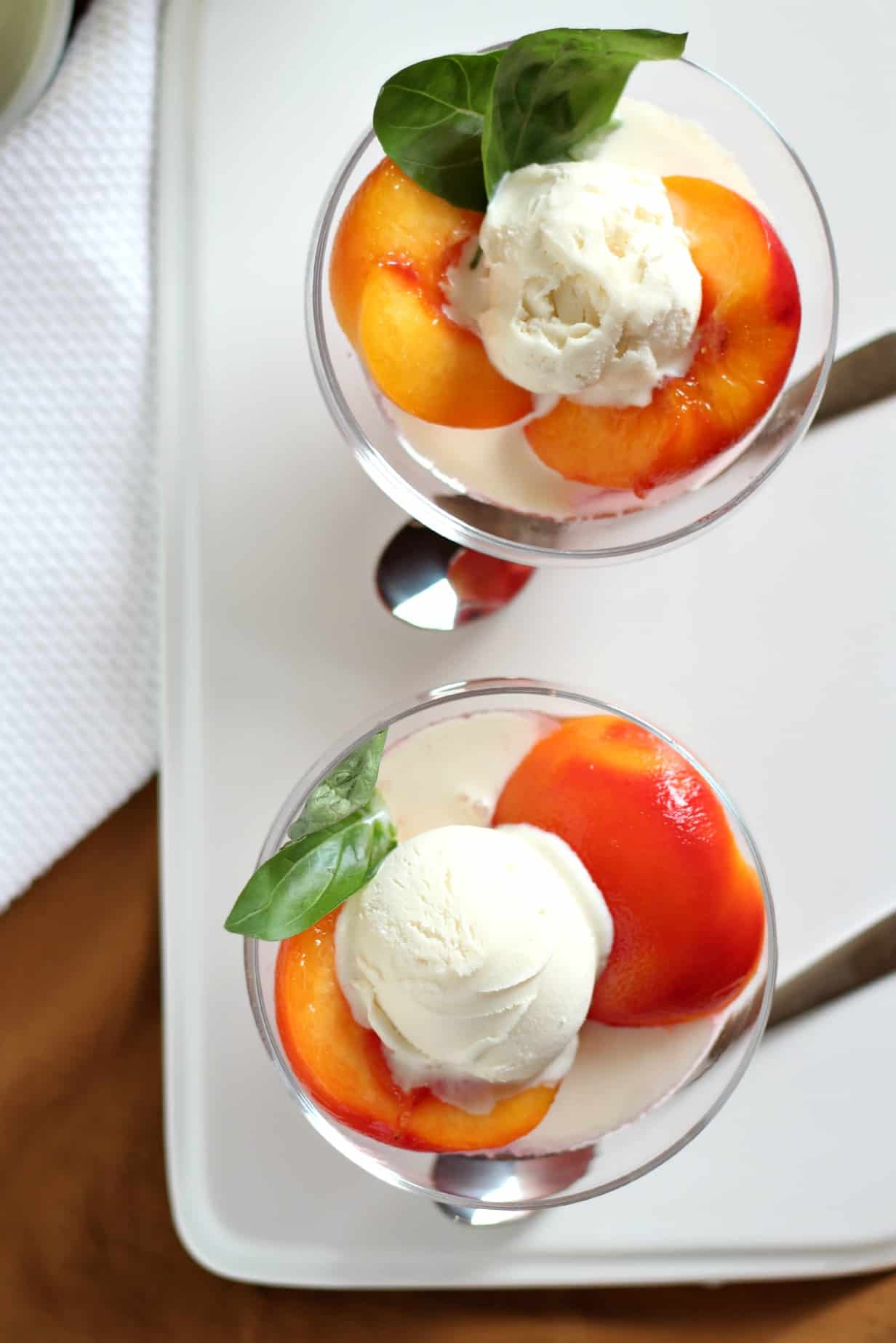 Poached Peaches with Basil #WholeFoods #Giveaway