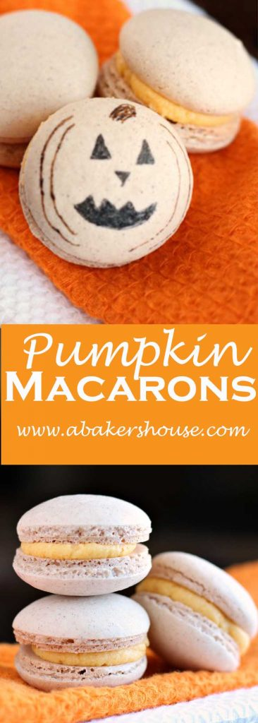 Pumpkin Macarons with Jack o Lantern Faces
