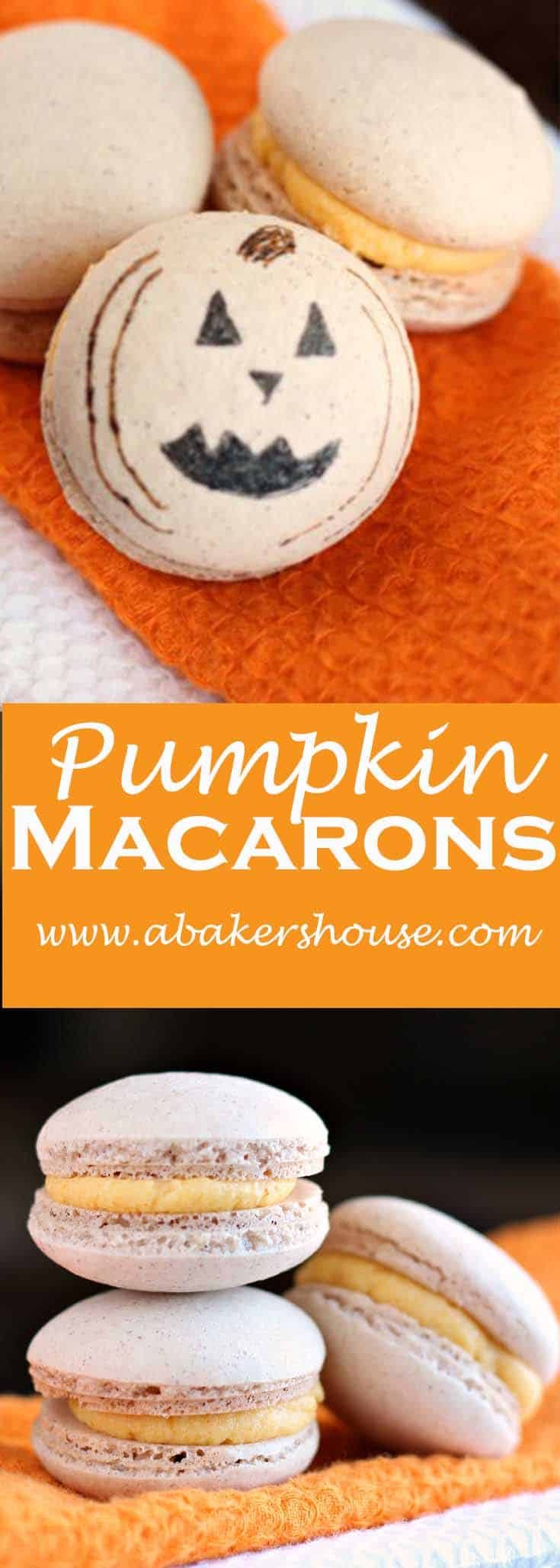 Pumpkin Macarons are a seasonal twist on standard macarons and well worth your time. Pumpkin pie spice adds flavor to the shells and pumpkin butter elevates the filling. #abakershouse #pumpkin #macarons #jackolantern #halloween