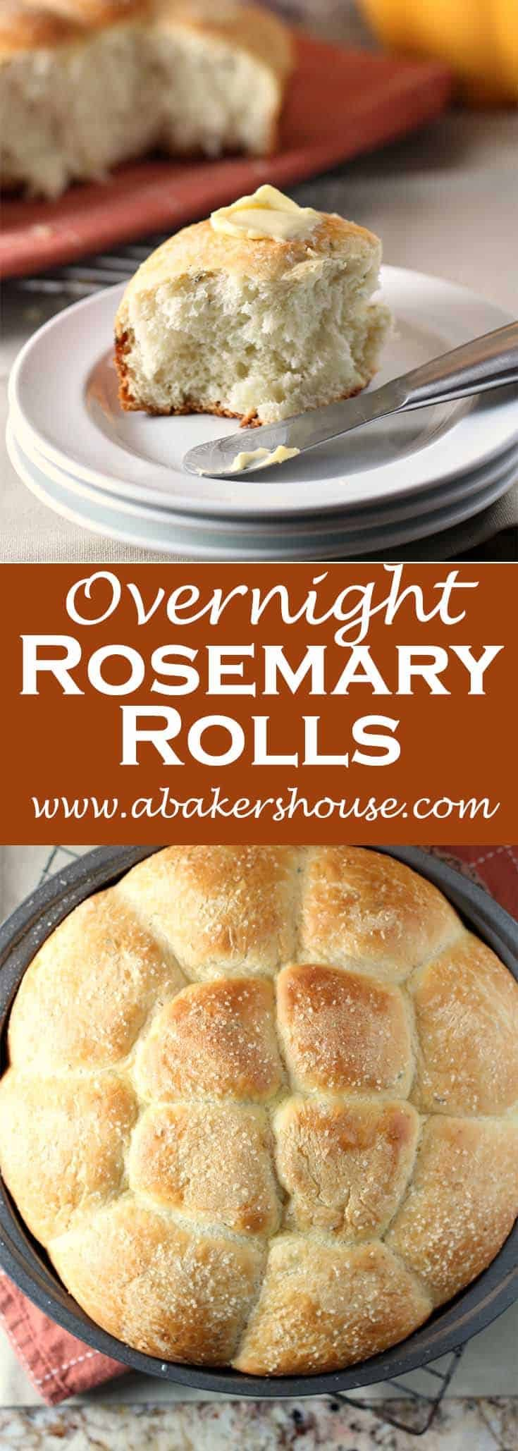 Overnight Rosemary Rolls made using a recipe from Sunset magazine. Make the dough the day ahead of time, saving you valuable time and freeing up counter space and energy for you to work on other parts of your meal during the precious few hours leading up to your dinner. Perfect for holiday meals like Thanksgiving or Christmas. #abakershouse #rosemary #rolls #buns #homemadebread
