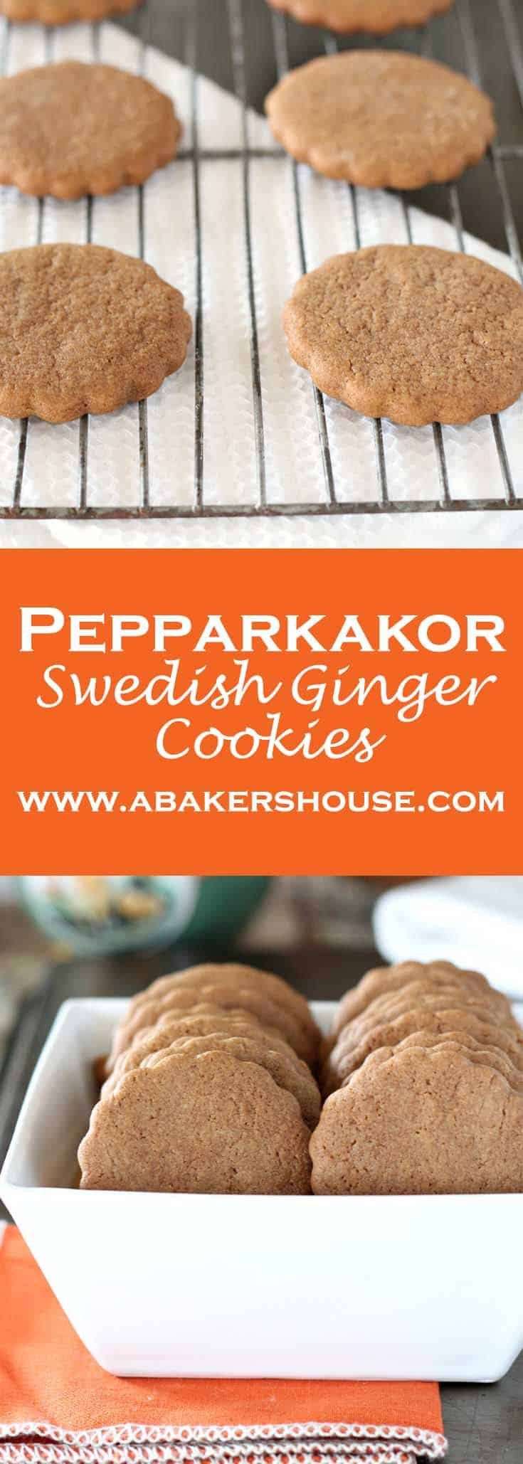 This Swedish ginger cookie is called Pepparkakor. It is perfect ginger snap cookie for a holiday Christmas cookie. These Swedish Ginger Cookies are delightfully easy. You might have come across this cookie in the children's book, Pippi Longstocking. #gingersnap #pepparkakor #pippi #abakershouse #holidaybaking