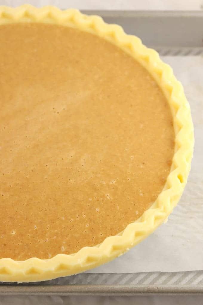 Filled unbaked gluten free store bought crust for gluten free pumpkin pie