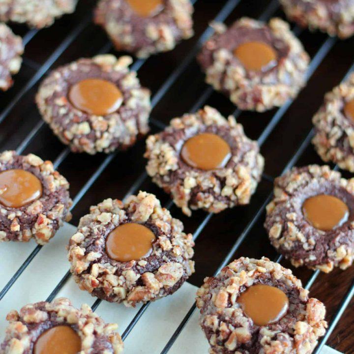 Chocolate Caramel Thumprint Cookies