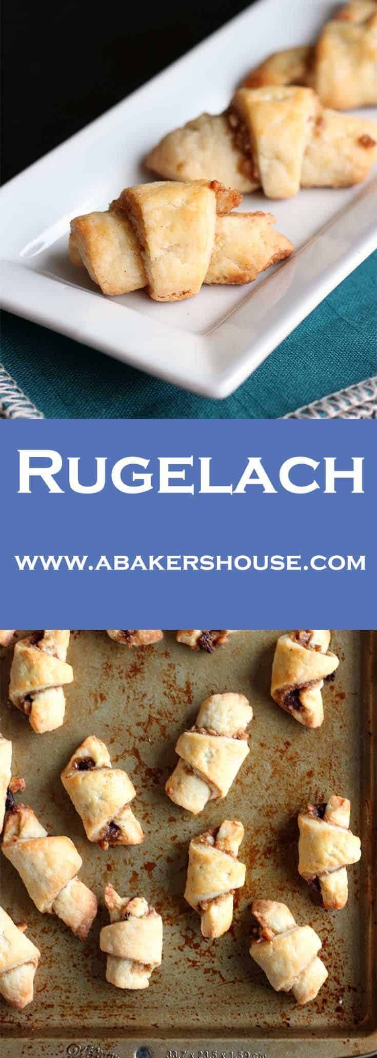 Rugelach are made by cutting the dough in triangles, adding a filling then rolling them up before baking. This recipe has a filling of cinnamon and raisins. #abakershouse #rugelach