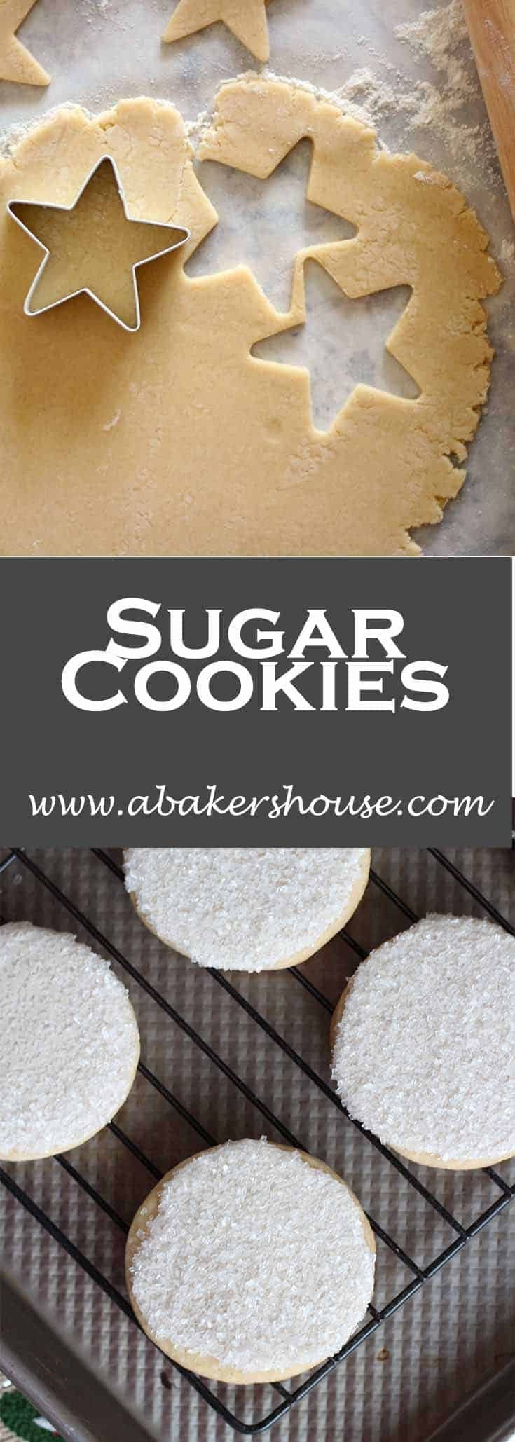 Try icing cookies with royal icing then dipping into sparkling sugar (or sprinkles if you can't find sparkling sugar). This is a quick way to dress up cookies without worrying about a pastry bag. #abakershouse #sugarcookies #wholefoods #cookierecipes