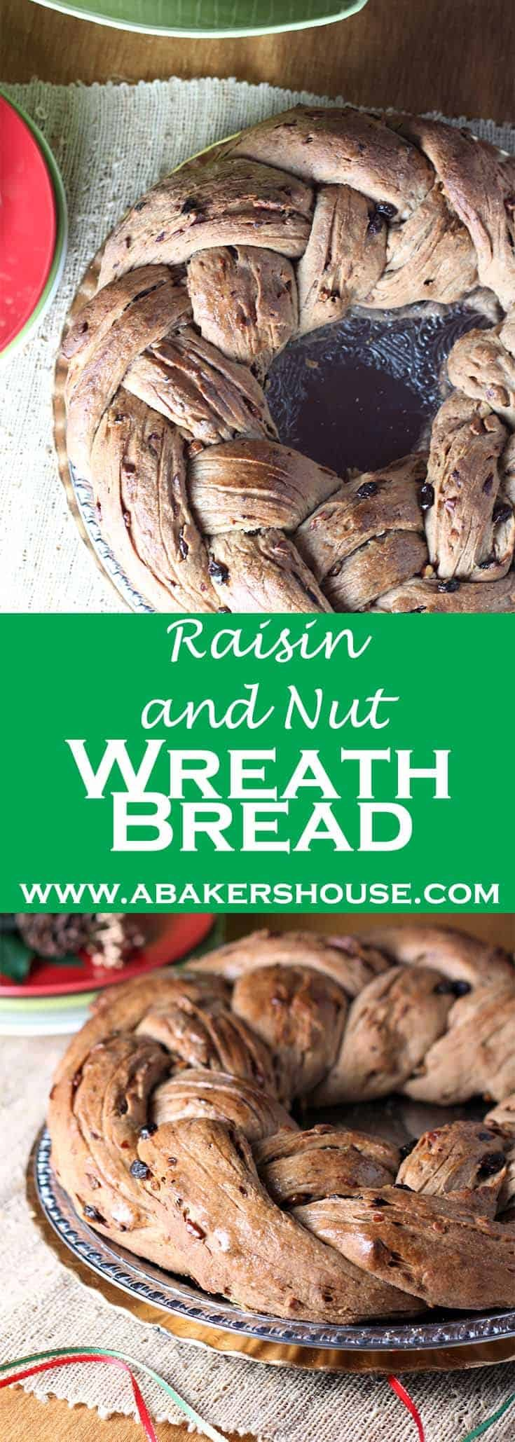 This raisin and nut wreath bread is a recipe from the website for The Telegraph, a newspaper published in the United Kingdom. I enjoy their food section and love the British take on holiday foods. #abakershouse #wreathbread #homemadebread