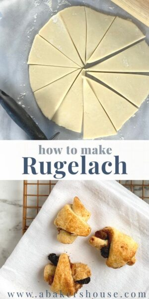 Long image of dough and finished baked rugelach