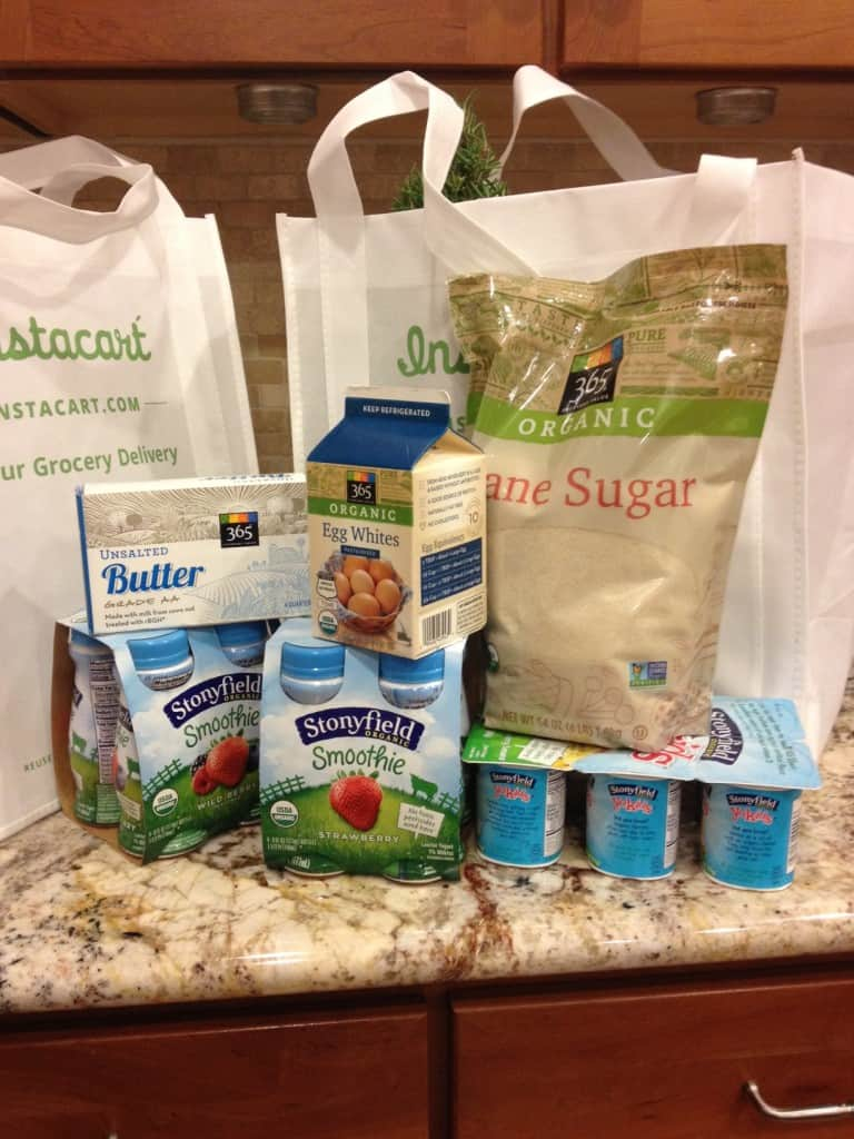 instacart shopping items of yogurt, egg whites, butter and sugar