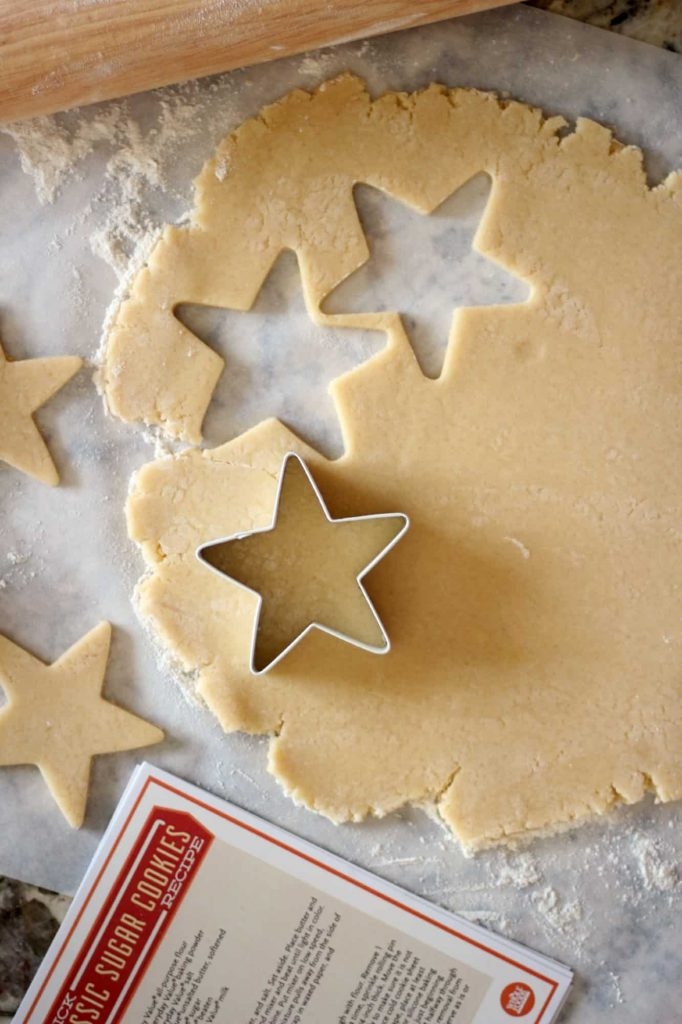 sugar cookie dough with star cut outs