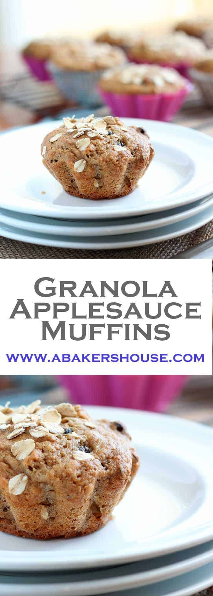 Granola applesauce muffins use applesauce instead of oil in this Whole Foods recipe. Taking small steps towards healthier choices starts with breakfast and you might as well start with a muffin! #abakershouse #muffins #applesauce #healthymuffin