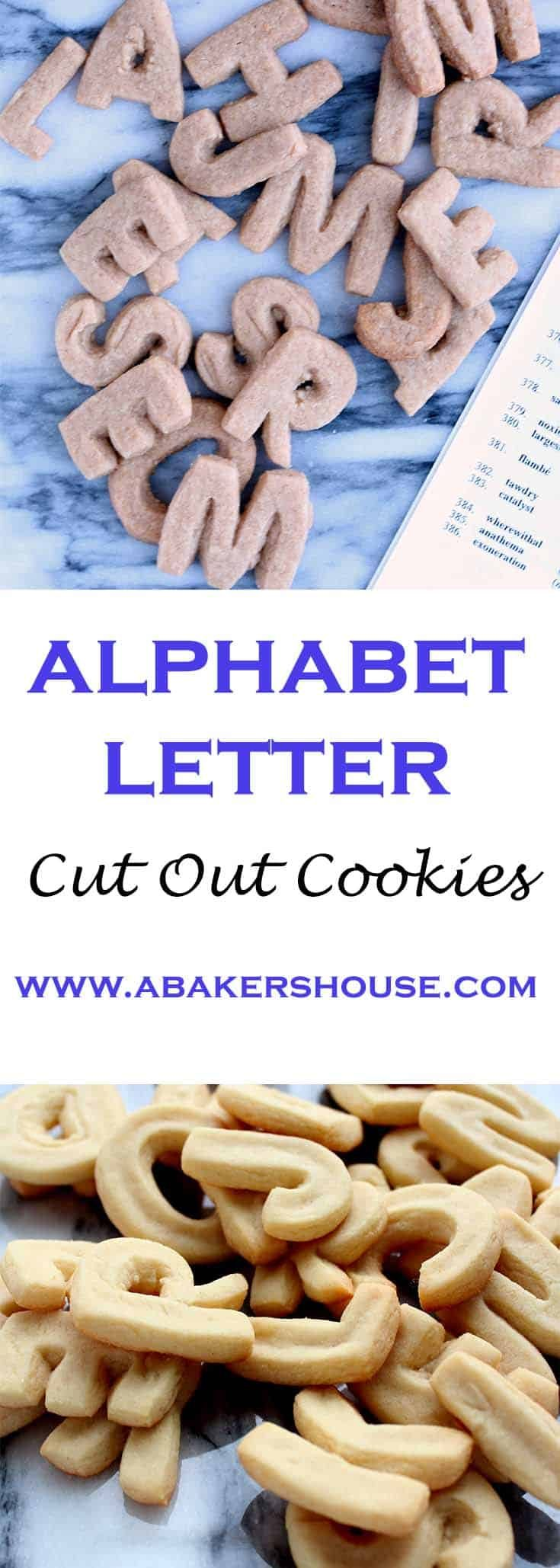 Alphabet Letter Cookies or Cut out sugar cookies are a fun way to play with letters at any age. #alphabet #animalcrackers #lettercookies #sugarcookies #abakershouse