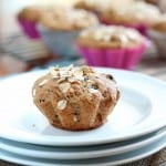 Applesauce granola muffin on white plates