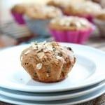 Applesauce granola muffin on white plates