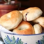 Blueberry bagels in a pottery bowl