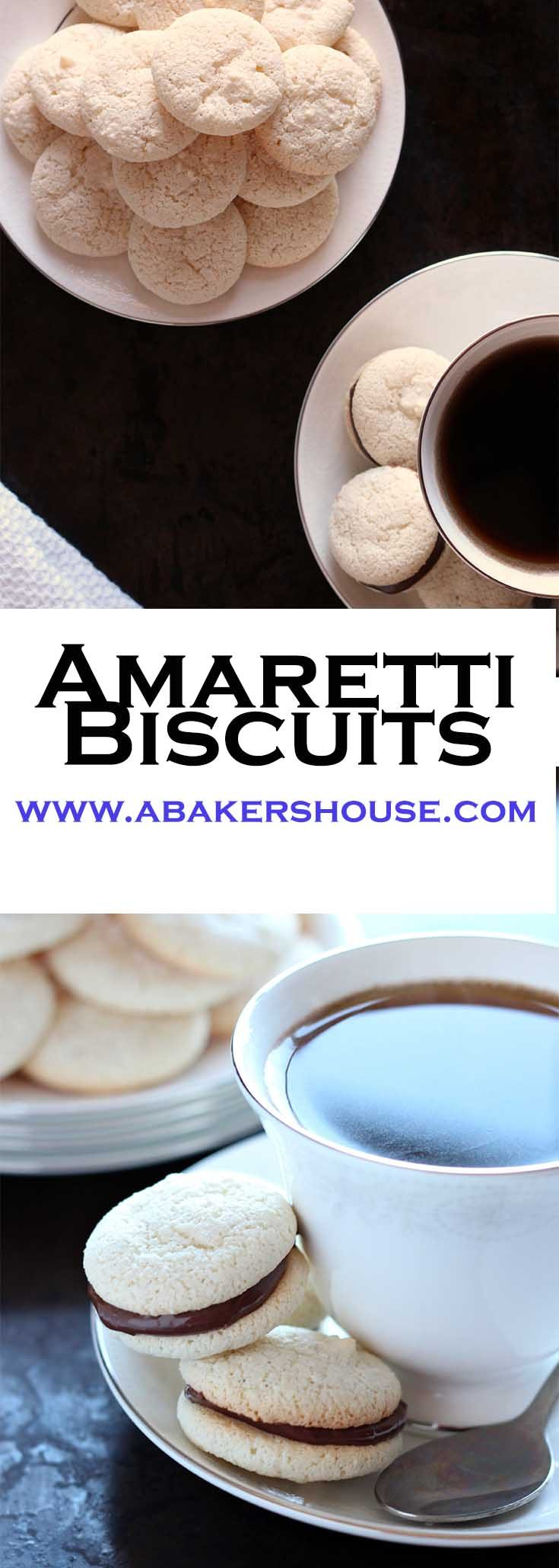 Amaretti biscuits are a gluten free Italian cookie (or biscuit) that are perfect on their own or even better sandwiched with a chocolate filling. These little meringues could be cousins with the better known macaron.#amaretti #glutenfree #gfcookie #abakershouse #nutella