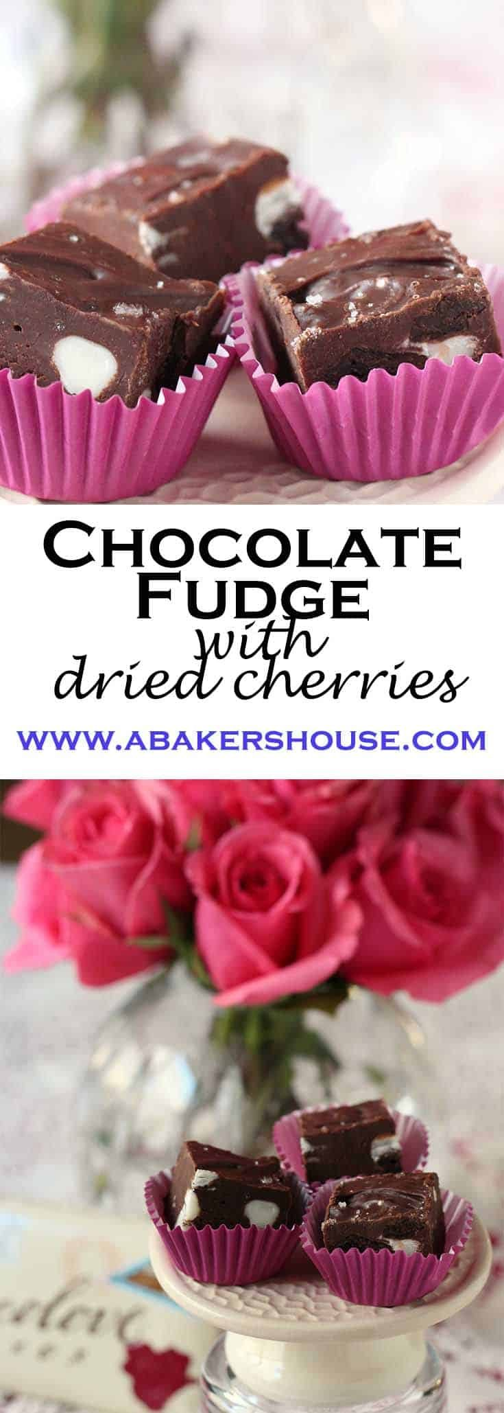 Easy recipe for chocolate fudge with dried cherries makes a love gift #Christmas #valentines #fudge #easyfudgerecipe #abakershouse