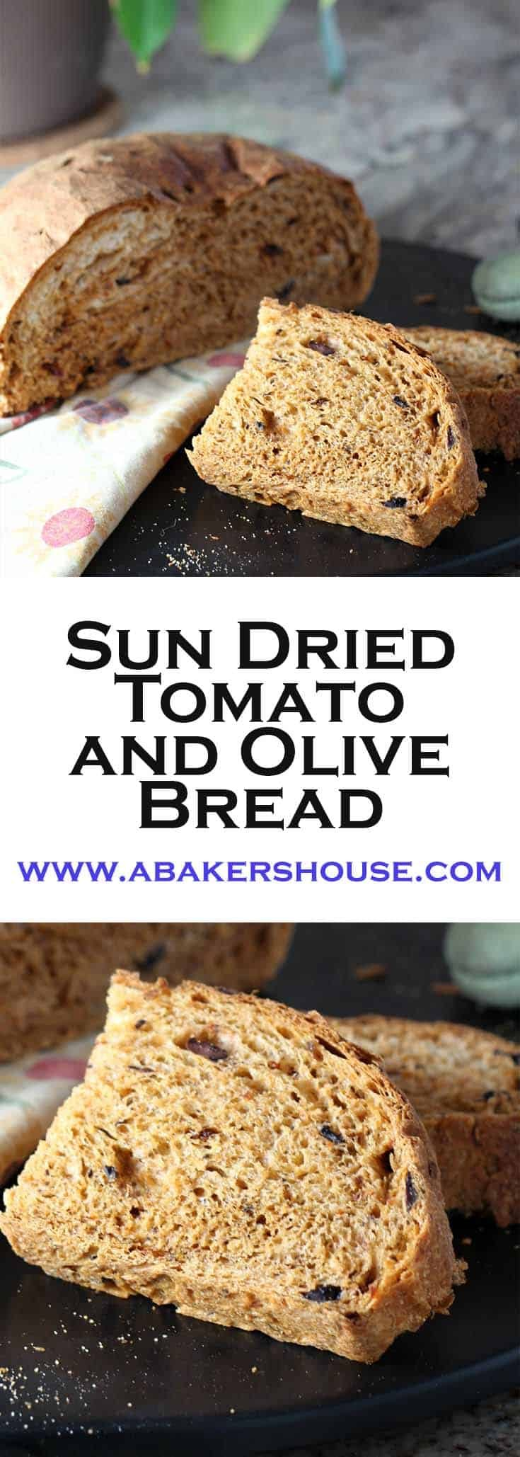 This recipe for sun dried tomato and olive bread uses equal amounts (in weight) of sun dried tomatoes and olives and the flavor is boosted by adding in a small bit of olive oil in which the sun dried tomatoes were jarred. #sundriedtomato #homemadebread #abakershouse