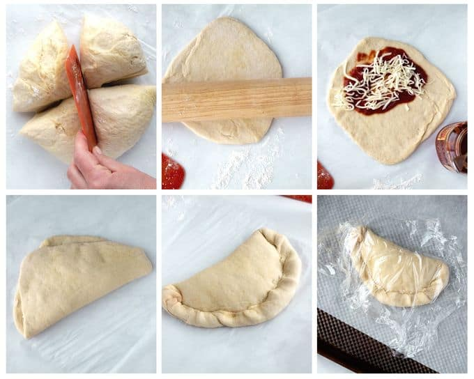Six photos showing the steps to form a homemade calzone