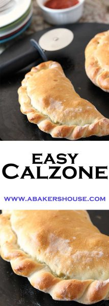 Homemade calzone with sauce and cheese fillings