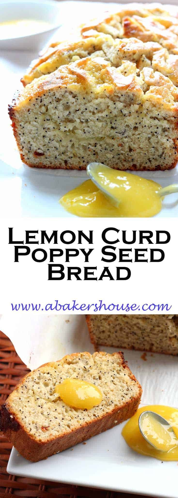 This Poppy Seed Bread from a Williams Sonoma recipe  is elevated by a triple dose of lemon-- lemon juice, lemon zest and lemon curd. It is bright and cheerful-- even while you are making it the smell of lemon will make you smile and think that winter is nearly over. #lemon #lemoncurd #poppy #abakershouse #quickbread