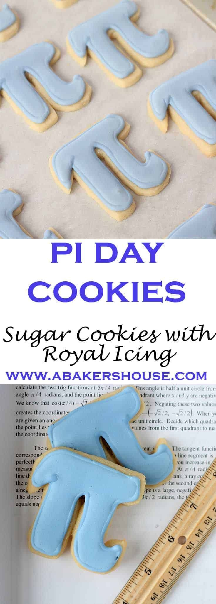 Pi Day Cookies are a reason to celebrate on March 14th -- 3/14-- which is when mathematicians and cookie lovers alike celebrate Pi, 3.14. #decoratedcookies #royalicing #sugarcookies #piday #abakershouse