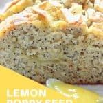 Pinterest image closeup lemon poppy seed bread sliced on marble board