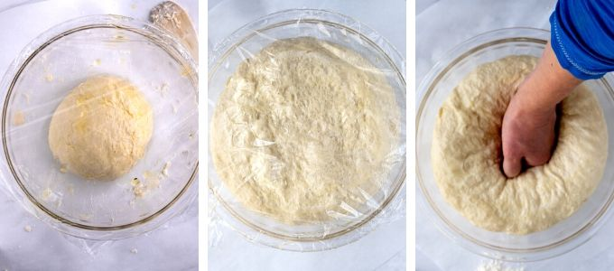 Three photos showing steps to let dough rise