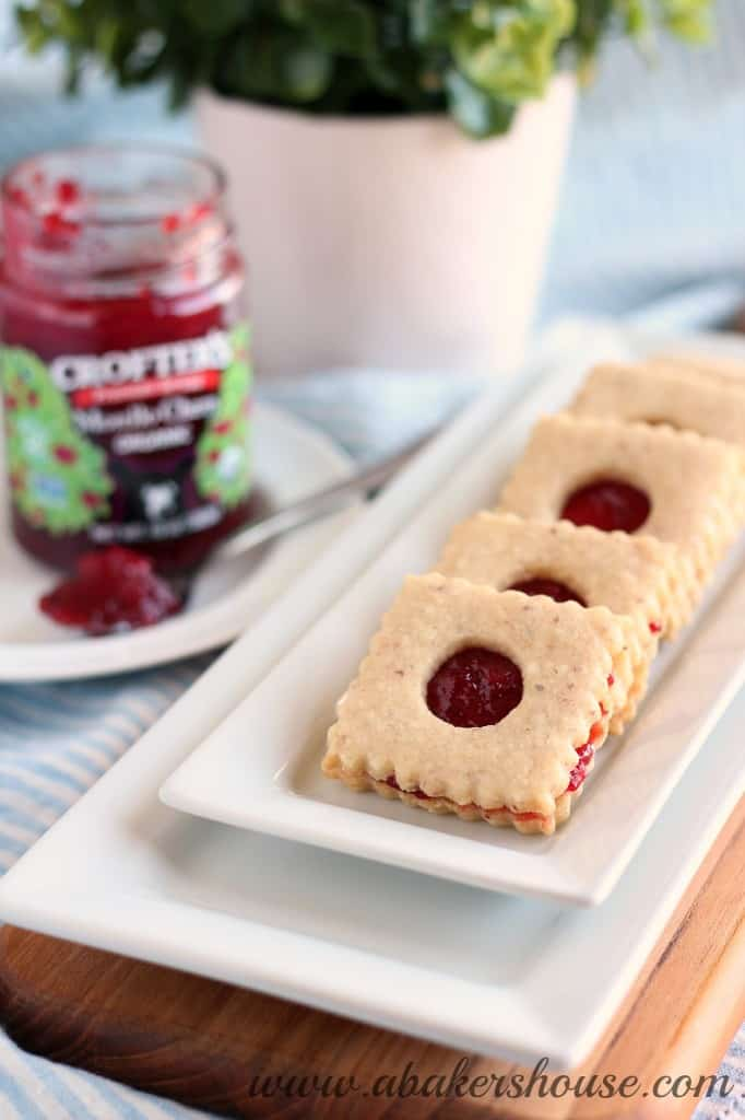 linzer cookies on a white tray