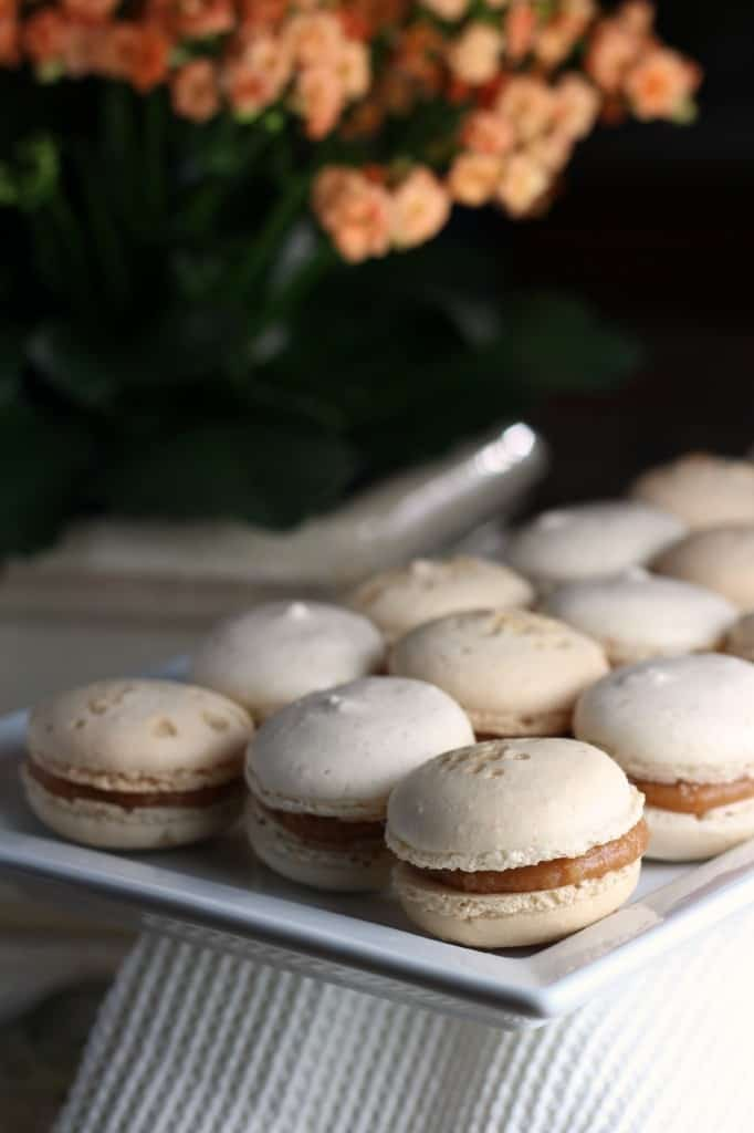 salted caramel macarons on a white platter with a flower in the background