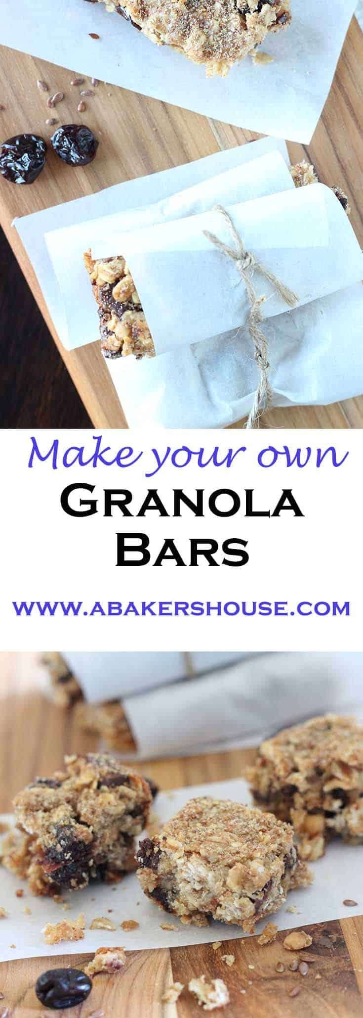 Make your own granola bars are the solution to snacking on the go. Filled with ingredients to help you refuel your energy when the tank is running low. #granola #healthy #healthysnack #wholefoods #cleaneating #abakershouse