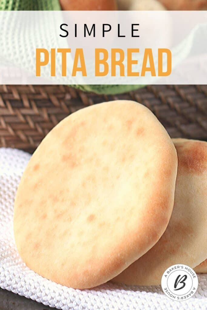 Pinterest image for simple pita bread with one large pita in front