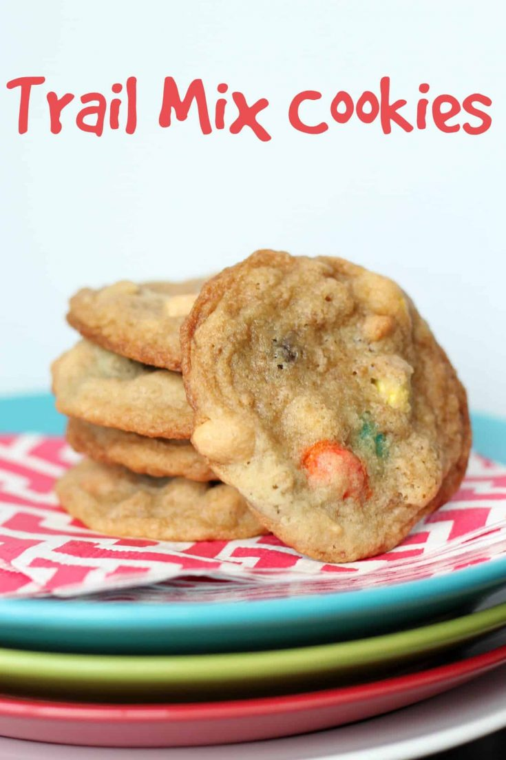 Trail mix cookies are a dressed up version of chocolate chip cookies with additions like nuts, candies and raisins. #cookierecipe #abakershouse