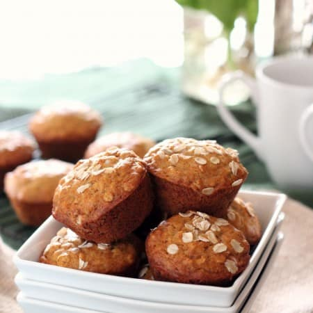 honey oatmeal muffins in a white bowl