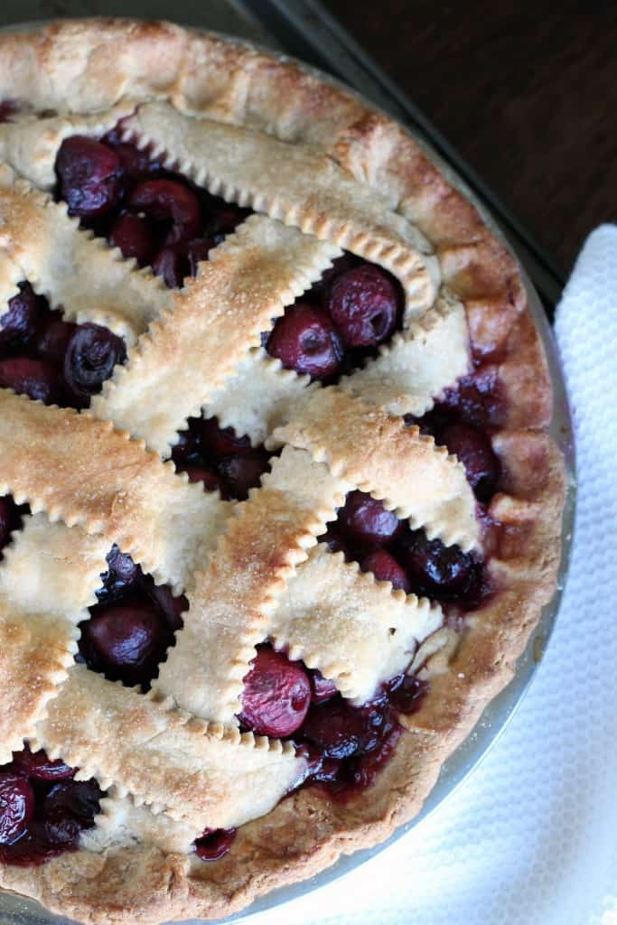 overhead view of whole wheat cherry pie (baked)