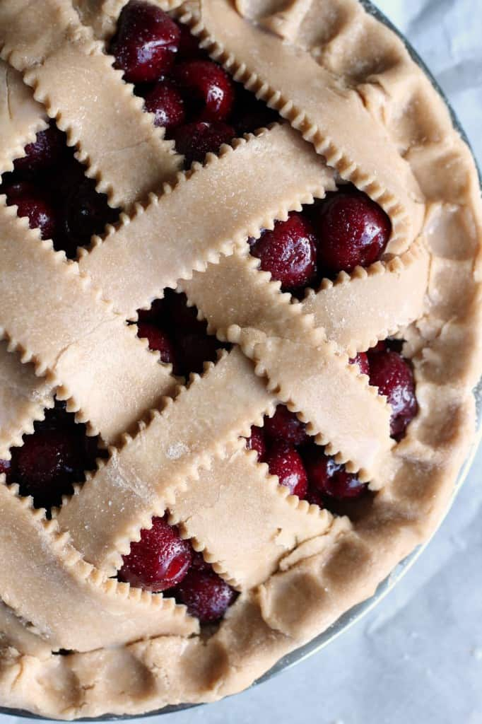 close up of whole wheat cherry pie unbaked