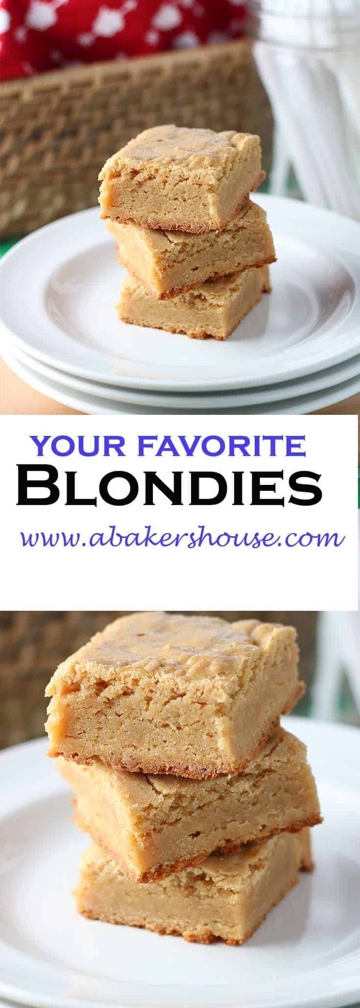 Blondies may be the better half to a brownie-- the same square, portable treat but without the heaviness of chocolate. The combination of granulated and brown sugar creates a chewy bite that makes it tempting to eat more than your share of each batch of blondies. #abakershouse #blondies