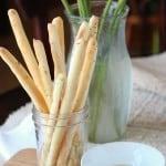 Rosemary bread sticks in mason jar