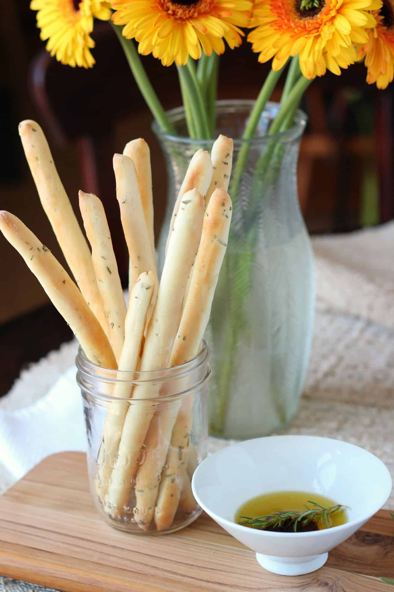 Rosemary bread sticks in mason jar