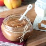 Spiced pear apple butter in mason jar with twine ribbon