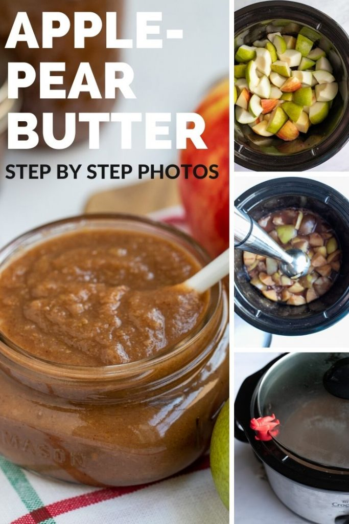 4 images showing steps to make apple pear butter